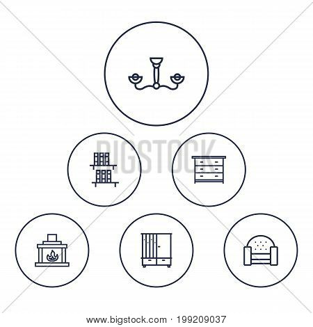Collection Of Sofa, Chandelier, Bookshelf Elements.  Set Of 6 Decor Outline Icons Set.