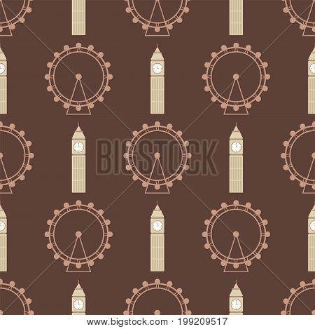 Vector ferris wheel from amusement parks seamless pattern circle fun amusement big ben illustration. Carnival carousel leisure fair high vacation background.