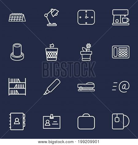 Collection Of Telephone, Table Lamp, Book And Other Elements.  Set Of 16 Office Outline Icons Set.