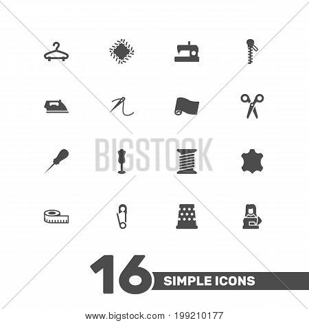 Collection Of Meter, Cutter, Eyelet And Other Elements.  Set Of 16 Stitch Icons Set.