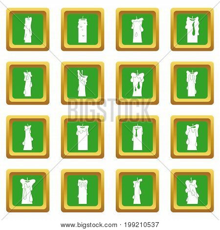 Candle forms icons set in green color isolated vector illustration for web and any design