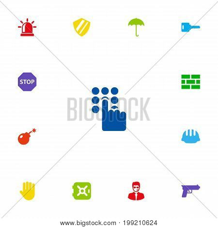Collection Of Fence, Hand , Sign Elements.  Set Of 13 Procuring Icons Set.