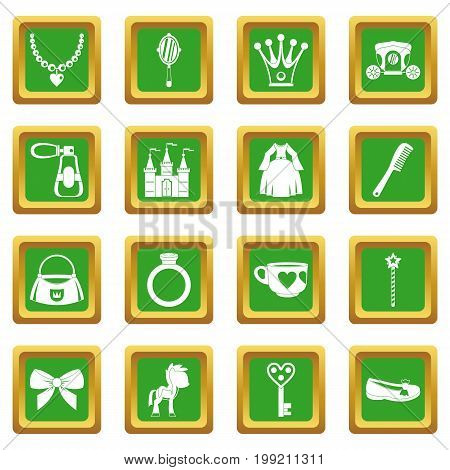 Doll princess items icons set in green color isolated vector illustration for web and any design