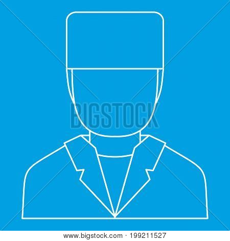 Doctor icon blue outline style isolated vector illustration. Thin line sign