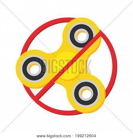 Fidget spinner forbidden sign, symbol. Vector flat design illustration.