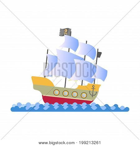 Pirate ship with white sails, black flag with skull, anchor on board and round portholes stands on wavy water isolated vector illustration on white background. Old vessel that carries criminals.