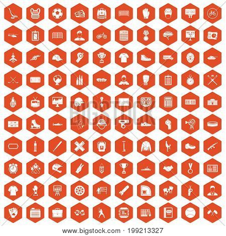 100 mens team icons set in orange hexagon isolated vector illustration