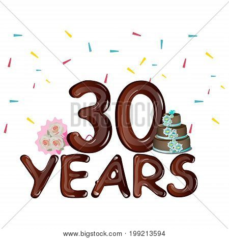 30 years celebrating colored card. Vector illustration