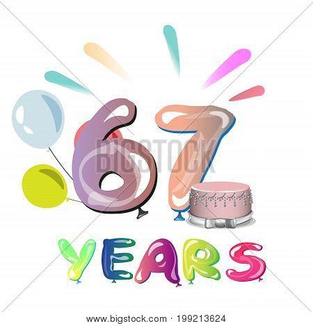 67 years anniversary celebration greeting card. Vector illustration