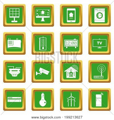 Smart home house icons set in green color isolated vector illustration for web and any design
