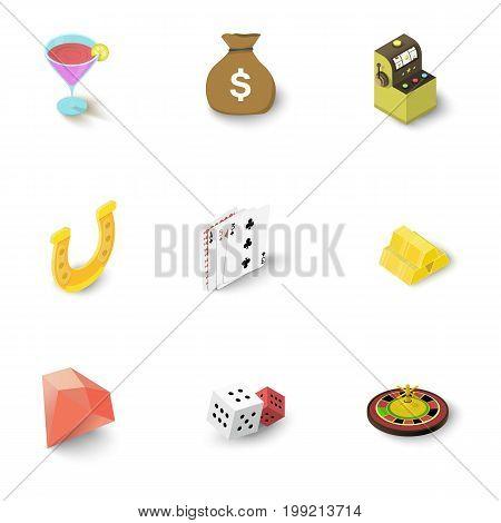 Casino accessories icons set. Isometric set of 9 casino accessories vector icons for web isolated on white background