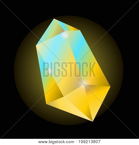 Bright yellow crystal that shines with blue and produces light isolated vector illustration on black background. Natural precious stone that has luminous property and used in accessory production.