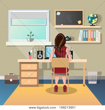 Woman sitting at a desk and working on the computer back view. Vector illustration