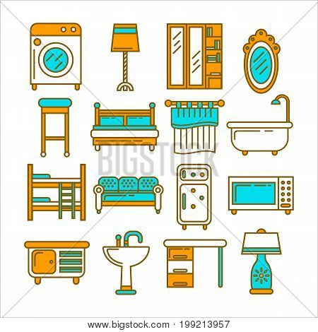 Powerful washing machine, bright lamps, spacious wardrobes, vintage mirror, comfortable seats, soft beds, ceramic bath and sink, kitchen appliances and wooden table isolated vector illustrations.