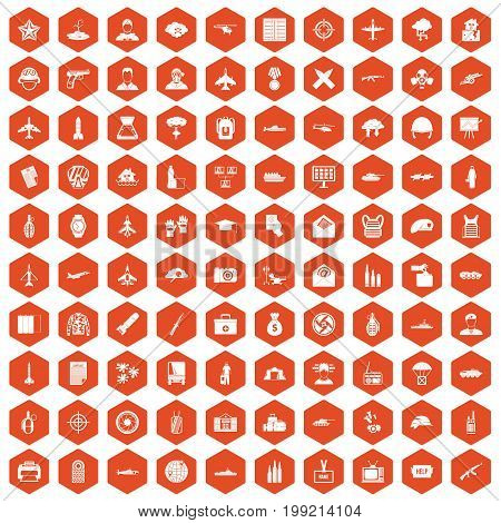 100 military journalist icons set in orange hexagon isolated vector illustration