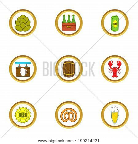 Craft beer icons set. Cartoon set of 9 craft beer vector icons for web isolated on white background