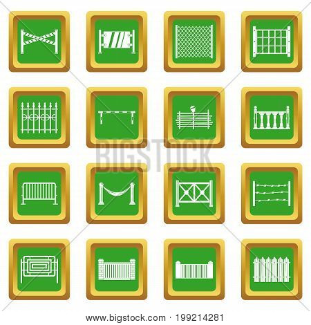 Fencing icons set in green color isolated vector illustration for web and any design