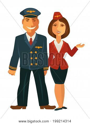 Vector illustration of smiling man pilot and woman hostess together isolated on white.