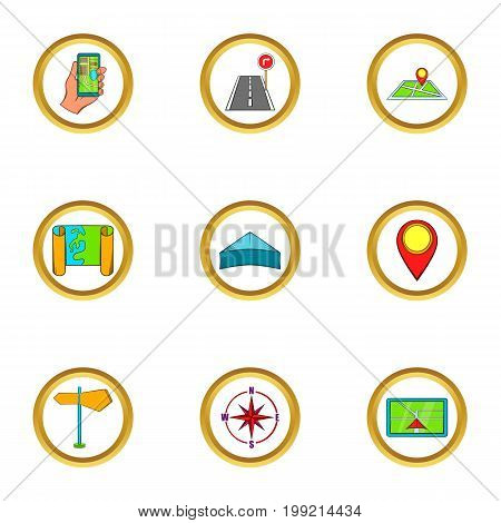 Navigation icons set. Cartoon set of 9 navigation vector icons for web isolated on white background