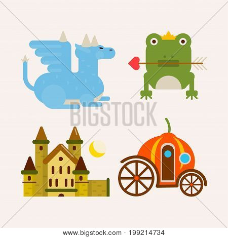 Fairy tale popular cartoon characters and magic animals. Magical fairytale pumpkin coach for princess, dragon and frog prince with arrow and king castle. Vector flat isolated icons set