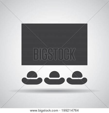 Cinema icon with shadow on a gray background. Vector illustration