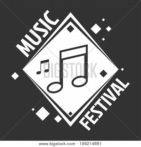 Music festival logo template of musical notes on vinyl disk record. Vector isolated icon for recording studio label or live concert
