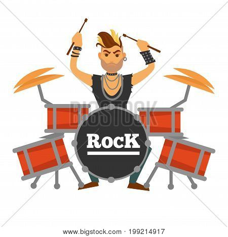 Drum player with small beard, dyed iroquois, ear tunnel, silver chains, leather bracelets and ripped shirt performs rock song isolated on white background. Informal musician vector illustration.