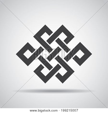 Endless knot icon with shadow on a gray background. Vector illustration