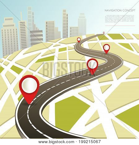 Navigation map with location pins and car road route in city. Vector flat template for navigator application or travel destination directions