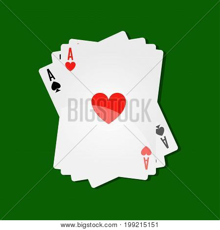 Casino poker playing cards in aces combination on green gambling table background. Vector stack of card decks with suits of hearts, clubs or diamonds and spades for solitaire game