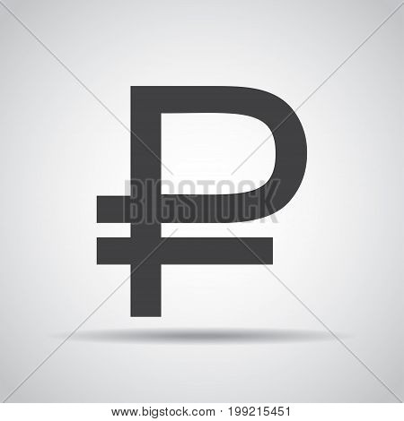 Ruble icon with shadow on a gray background. Vector illustration