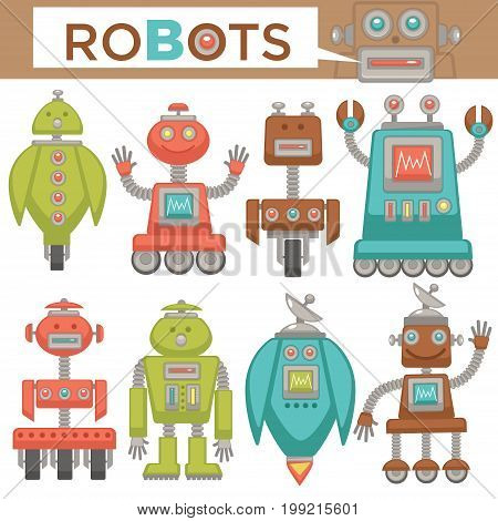 Robots and transformer or cartoon characters androids in retro toys style. Unusual futuristic cyborg machines with hands and wheels or toggles. Vector flat icons set