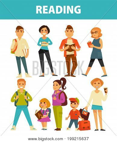 People reading books. Young girl pupil in school with ABC alphabet, boy student with rucksack and adult woman or man read library book. Vector flat isolated icons set