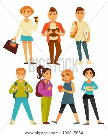 Modern diligent students with textbooks isolated cartoon vector illustration on white background. Brunette girl holds pile of books, stylish guy reads textbook and handsome boy stands with rucksack.