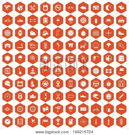 100 motorsport icons set in orange hexagon isolated vector illustration