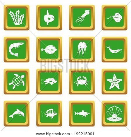 Sea animals icons set in green color isolated vector illustration for web and any design