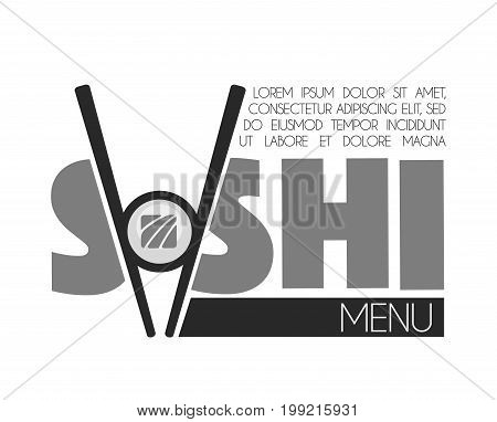 Sushi bar menu monochrome emblem with sticks and roll, add your text. Delicious rolls with fresh fish, wooden chopsticks and big thick signs on promotional logotype isolated vector illustration
