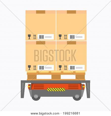 Vector illustration of red colored electric cargo carrier with boxes.