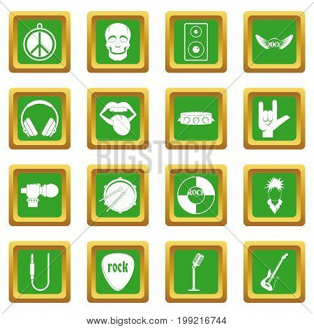 Rock music icons set in green color isolated vector illustration for web and any design