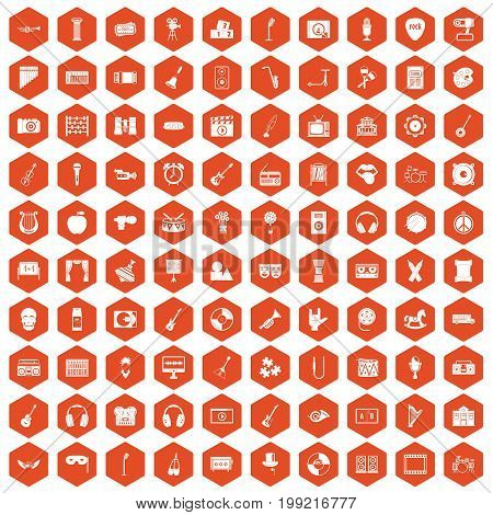 100 musical education icons set in orange hexagon isolated vector illustration