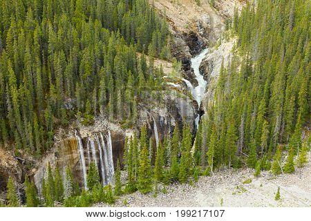 athabasca river waterfalls west canada british columbia
