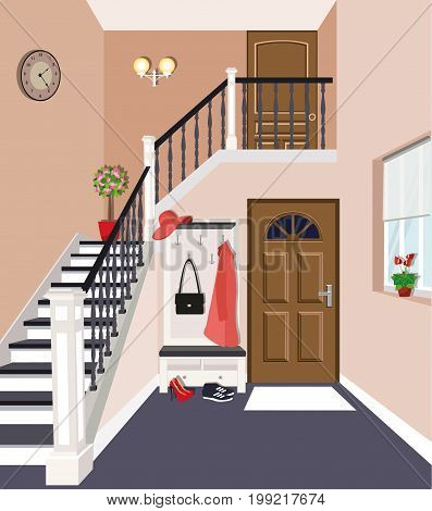 Entrance hall interior design with stairs in the house. Closet with clothes, shoes and bag near the entrance door. Flat style vector illustration.