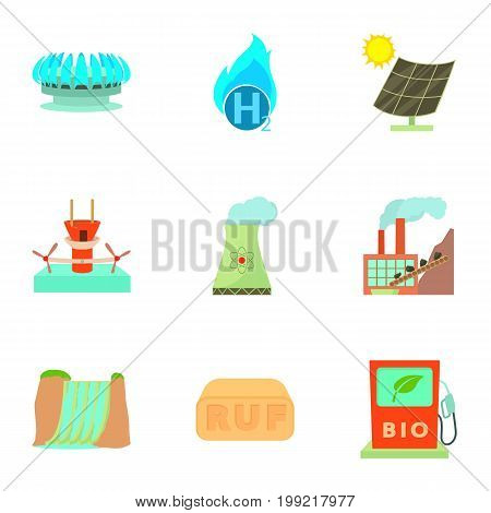 Energy industry icons set. Cartoon set of 9 energy industry vector icons for web isolated on white background