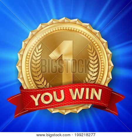 Gold Medal Vector. Golden 1st Place Badge. Metallic Winner Award. Red Ribbon. Olive Branch. Realistic illustration.