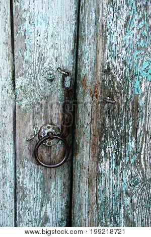 The old door close up. Russian village.