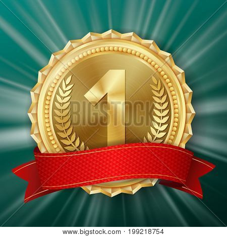 Gold Medal Vector. Round Championship Label. Ceremony Winner Honor Prize. Red Ribbon. Realistic illustration.