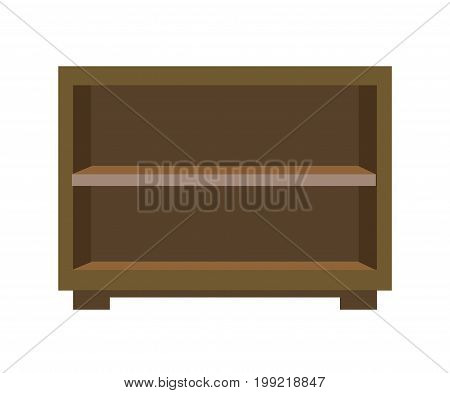 Small wooden bedside chest with shelves isolated on white. Vector illustration.