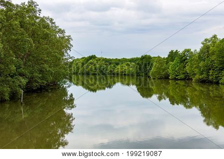 Rural River Landscape Summer River With Bright Sky And Cloud