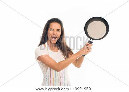 'yelling Housewife In Apron, Standing With Frying Pan In Hands , Isolated On White