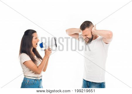 'woman Screaming On Man With Help Of Megaphone, Isolated On White